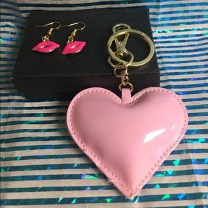 Pair of lip earrings and heart keychain